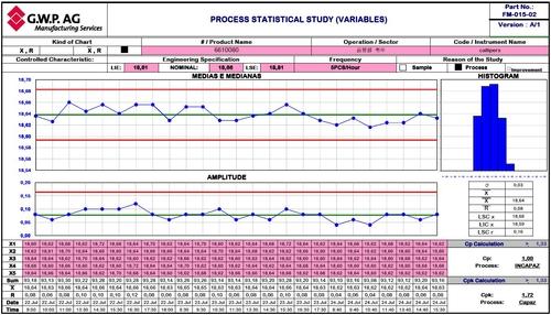 Beispiel für ein CpK-Level Chart